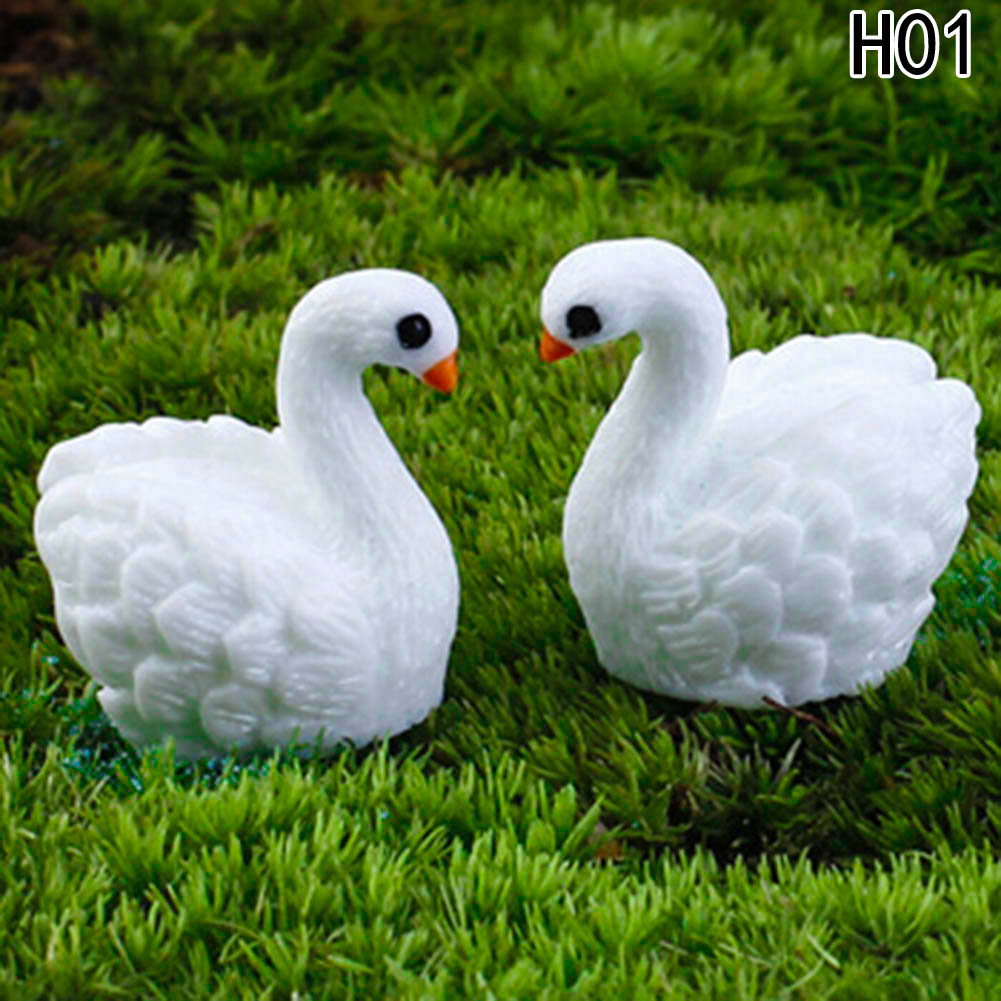 US $0.43 18% OFF|2pc/lot White Swan Figures Decorative Mini Fairy Garden  Animals Statue Jardin Miniature Moss Ornaments Resin Craft Gifts-in  Figurines ...