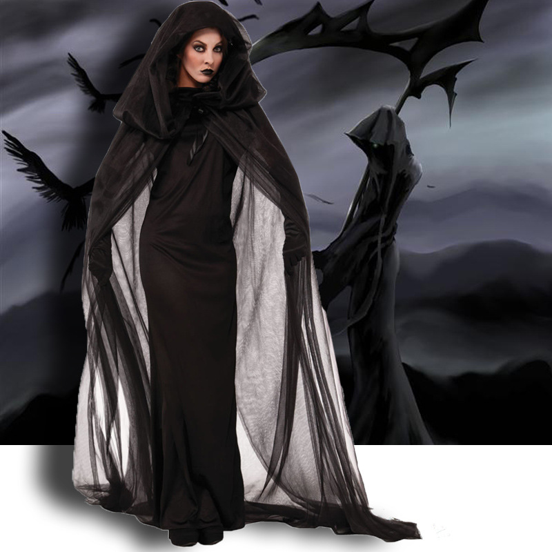 Halloween Costumes For Women Ghosts Specter Witches Death Robes Long Maxi Cosplay Fancy Party Dress Costumes Wth Robe & Gloves