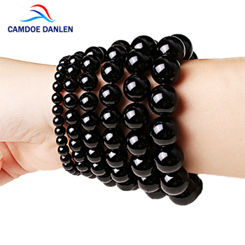 Fashion AAA Agates Bracelet Women Men Jewelry 4/6/8/12/14/16mm Black Onyx Bead Yoga Bracelets & Bangle Pulseira Masculin
