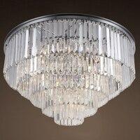 Vintage Chandeliers LED Lighting Modern Crystal Prism Flush Mount Ceiling Chandelier Light Fixture for Living Dining Room