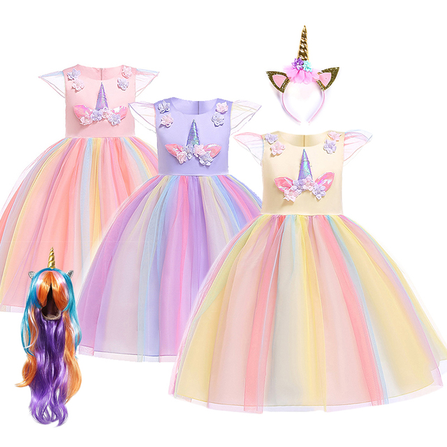 Girls Unicorn Dress up Costume Halloween Ball Gown Cosplay Princess Kids Birthday Unicorn Party Wigs Accessories Fancy Dresses