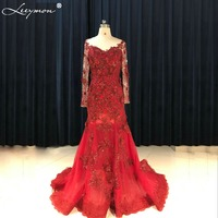 Real Sexy Open Back Red Lace Mermaid Wedding Dress 2017 Full Sleeve Flower Appliques 3D Bridal