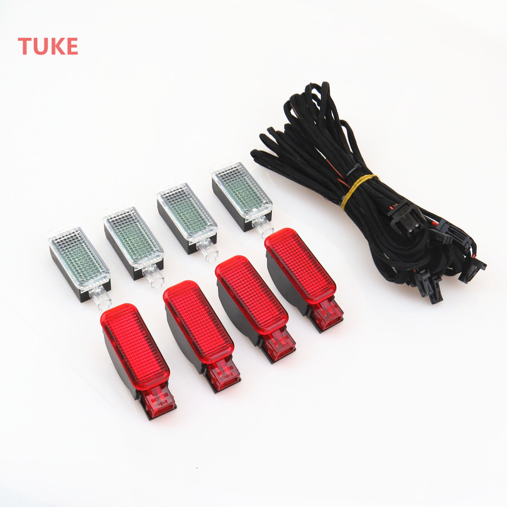 TUKE LED Interior Footwell Lights & Door Plate Warning Light + Cable Harness 3AD 947 409 8KD 947 411 For A3 A4 A6 RS7 Q3 Q5 Q7 oem glove box lights set 8kd 947 415 c 4b0 947 415 a 8d0 947 415 fit vw audi a3 a4 a5 a6 allroad quattro a7 q3 q5 q7 tt