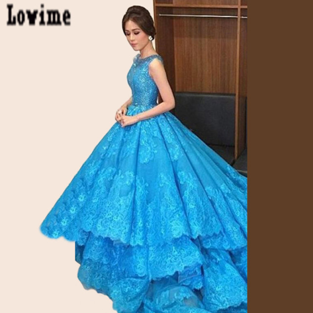 2e7c3452fa6 Robes De Soir E Blue Lace Ball Gown Celebrity Dresses 2016 Beads Neck  Keyhole Back Tiers