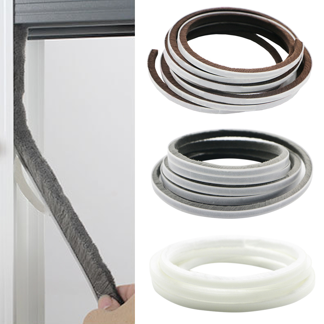 5M Self Adhesive Seal Strip Door Draught Excluder Window Pile Seal Film Door Brush Swal Weather Strip For Door Protector Strip