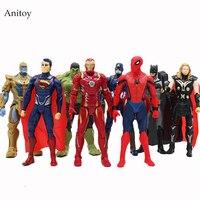 8 Pcs Set Marvel Super Heroes Iron Man Spiderman Captain America Thor Hulk Thanos PVC Action