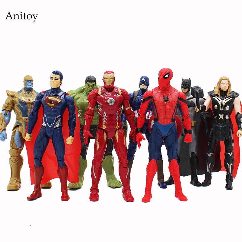 8 pcs/set Marvel Super Heroes Iron Man Spiderman Captain America Thor Hulk Thanos PVC Action Figures Toys 16.5-17.5cm KT4206 captain america civil war iron man 618 q version 10cm nendoroid pvc action figures model collectible toys