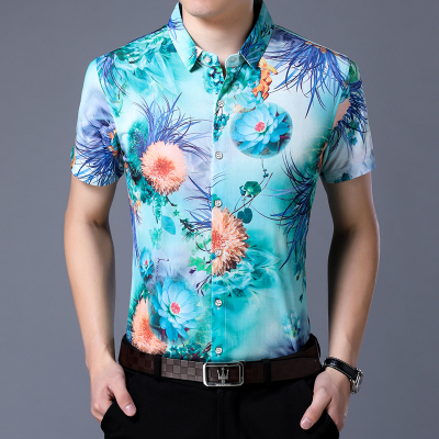 Short Sleeve Shirt Floral Polyester Flower Printed Mens Shirts Slim Fit Casual Fancy Camisas Social Brand Clothing