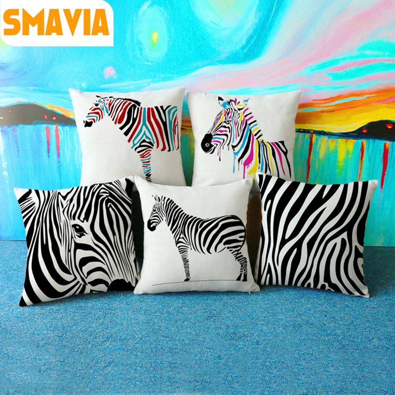 Hot sale Zebra Creative Cushion Covers Animal Texture Square Pillowcase Linen Car/ Chair/Bed/Sofa Waist Pillow Covers 45X45cm
