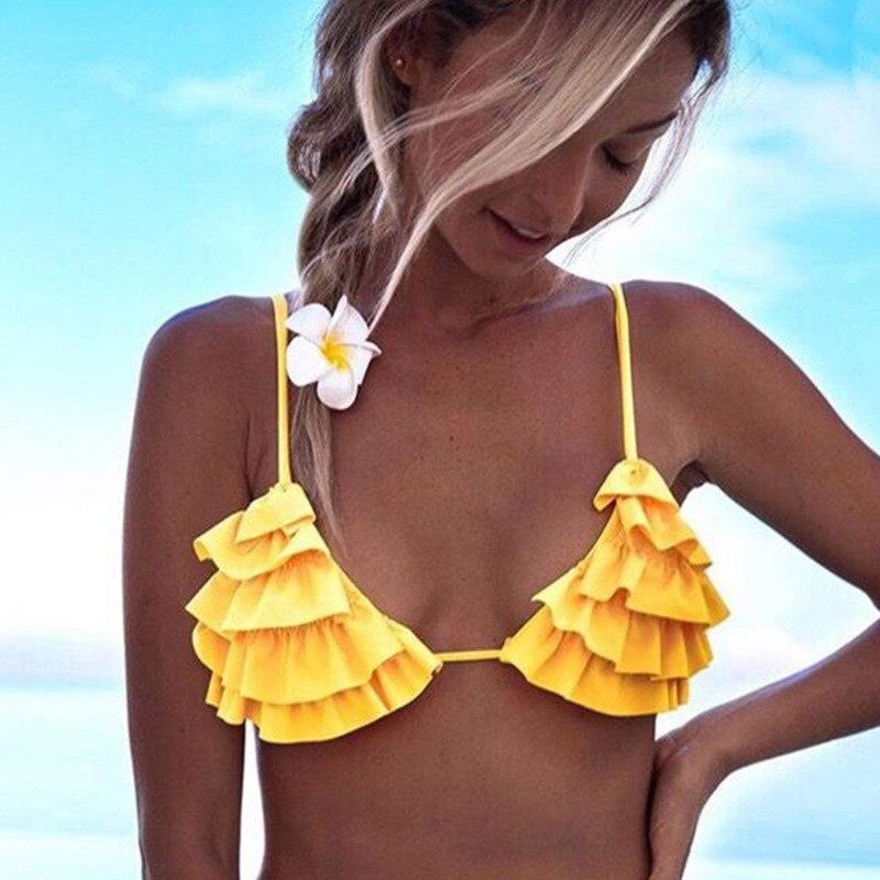 Women Halter Bandage Bikini Set Push-up Ruffle Bra Flower Printed Summer Beach Swimwear YS-BUY 2