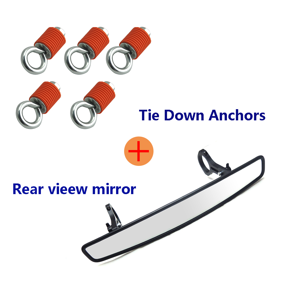 KEMiMOTO UTV Rear View Mirror 2 Clamp for Polaris RZR XP1000 XP4 XP 4 for Can Am Commander Maverick Tie down anchor Lock Ride