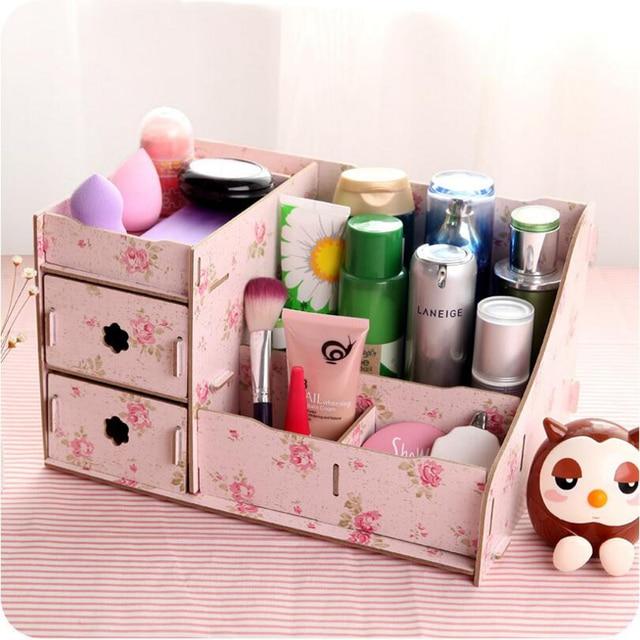 Drewniane Pudełko Do Przechowywania Biżuterii Pojemnik Makijaż