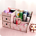Wooden Storage Box Jewelry Container Makeup Organizer Case Handmade DIY Assembly Cosmetic Organizer Wood Box For Office H