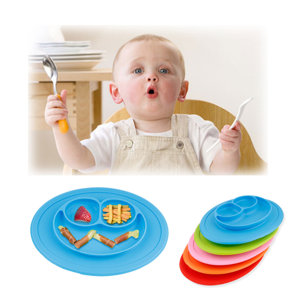 5 Colors Food Grade Silicone Baby Smile Placemat Divided