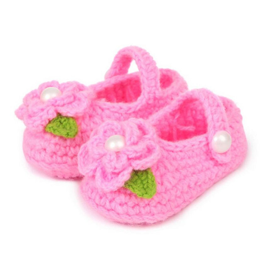 2017 Hot Crib Crochet Casual Shoes Baby Girls Handmade Knit Sock Infant Rose Shoes Levert BTTF