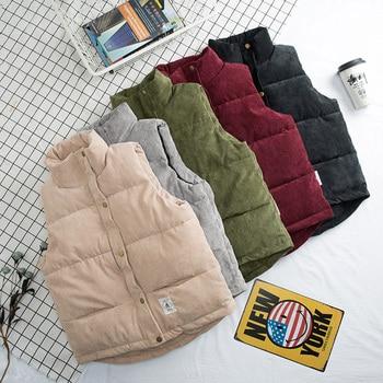 цена men Down cotton vest men autumn and winter corduroy vest thickening men's vest couple vest men and women vest jacket онлайн в 2017 году