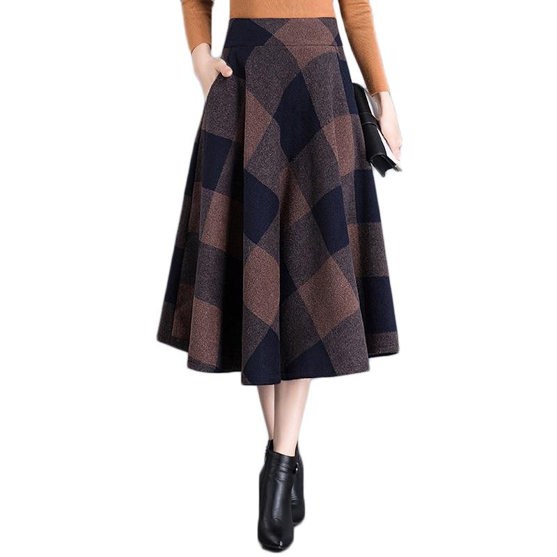 Bolsillos Elegantes Pantalones Lana Alta Cuadros Faldas 4xl Café Plus M Cintura Invierno Larga Coffee Tamaño 2019 Mujer Falda Plisada De Mujeres Otoño xHxUgZwqB