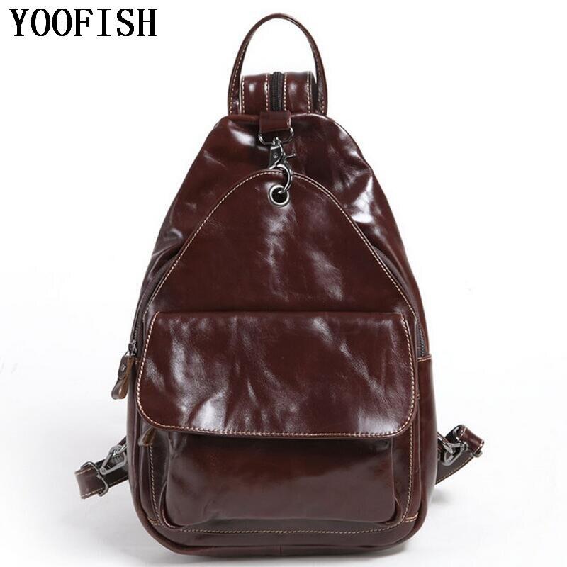 YOOFISH divatos valódi bőr férfi hátizsák laptop laptop bőr hátizsák ... 7b49cee30a