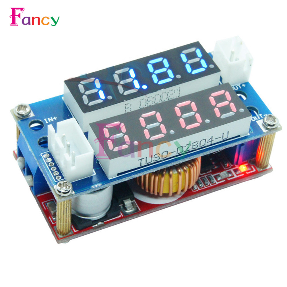 Max 5A Adjustable CC CV Step Down Receiver Charge Module Digital Voltmeter Ammeter Display LED Driver for Arduino Blue Red