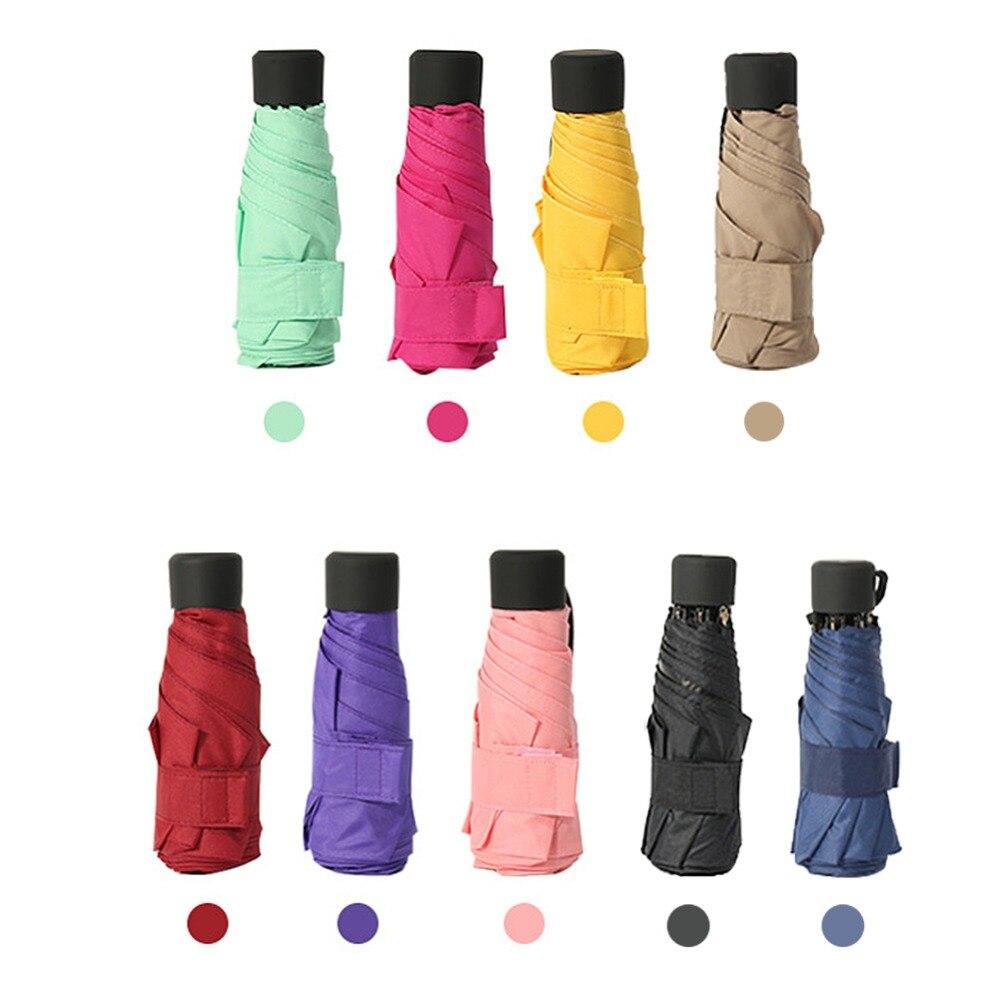 9 farben Mini Tasche Regenschirm Frauen UV Kleinen Regenschirme Sonnenschirm Mädchen Anti-Uv Wasserdichte Tragbare Ultraleicht Reise Dropshipping