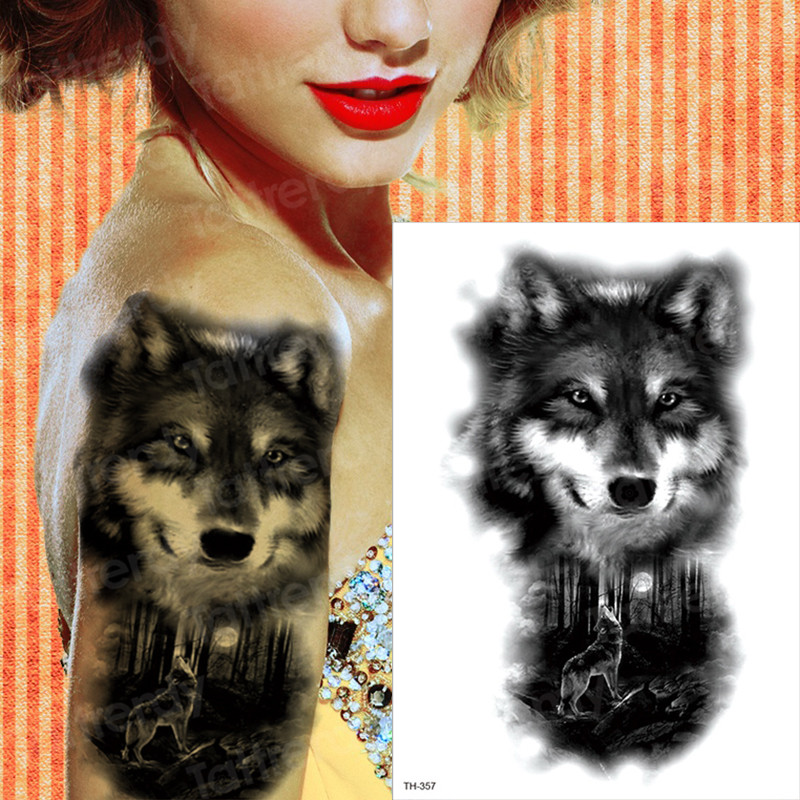 Tiger Fox Wolf Temporary Tattoo For Men Women Fake Tatoo Body Art Decals Waterproof Arm Tattoo Stickers Animals Forest 16 Styles