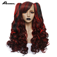 ANOGOL Long Body Wave Lolita high temperature fiber Side fringe Wine Red Black Synthetic Cosplay Wigs with 2 Ponytails for women