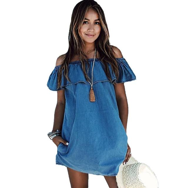38491f628d Kobiety Sukienka 2017 New Fashion Designer Luźne Slash Neck Jeans Sukienki  Letnie Casual Panie Elegancki Denim