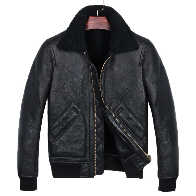 2019 Black Men Military Pilot Shearling Jacket Plus Size XXXL Slim Fit Winter Thick Russian Aviator Genuine Coat FREE SHIPPING(China)