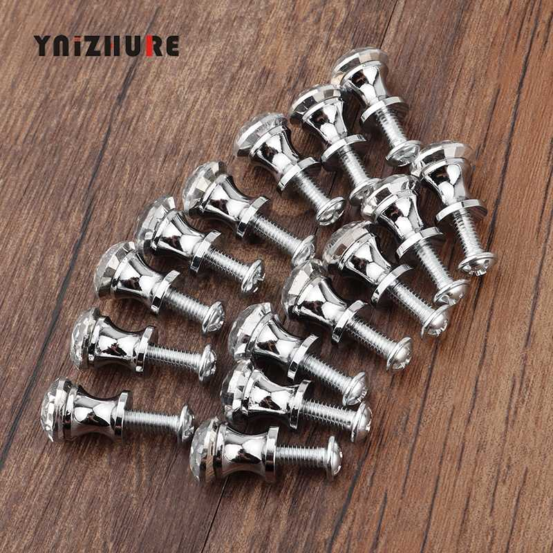 YNIZHURE Shine 12mm 15PCS Furniture Crystal Small Mini Handle Dresser Dressing Cosmetic case Box Knob Drawer Cabinet