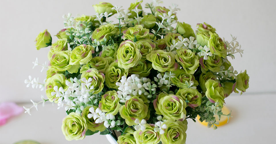 15 Head Mini Roses Artificial Flower With Green Leaves For Living Room And Desk Home 20