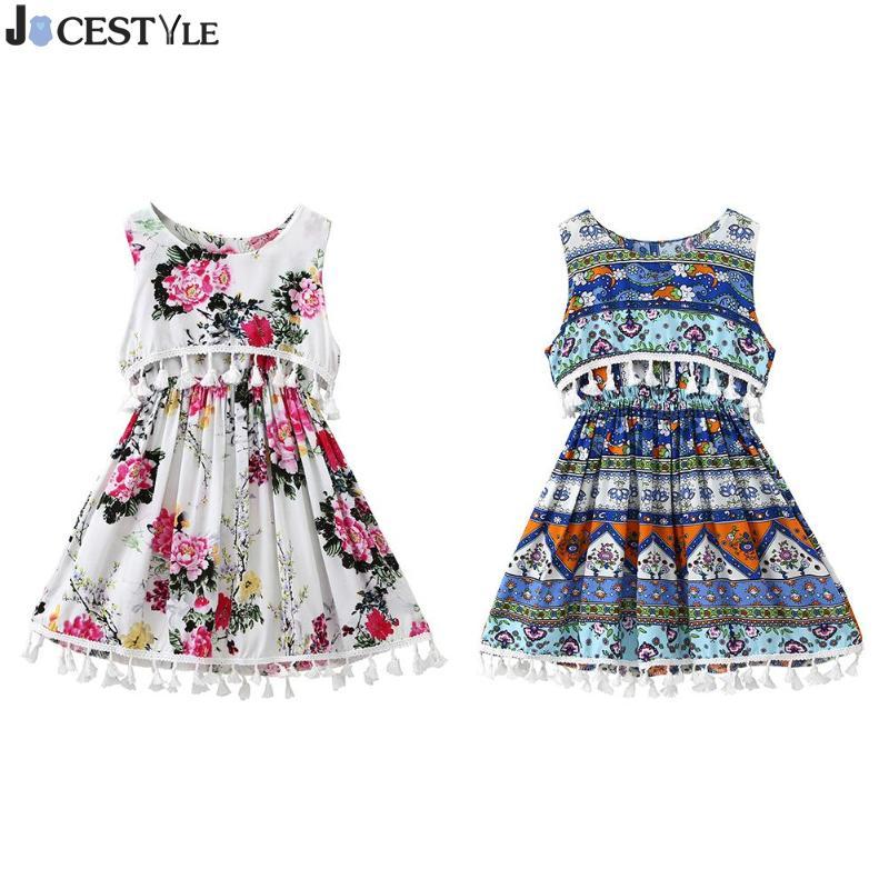 b06fb536ccd Ethnic Style Flower Printed Baby Girls Dress Kids Clothes Sleeveless Boho  Tassel tutu Vest Dresses Summer