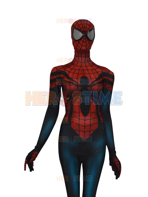 New Red Blue Spider-Girl Costume Spandex Mayday Parker Spiderman Costume Halloween Cosplay Fullbody Zentai Suit  Free Shipping
