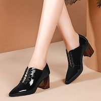 MLJUESE 2019 women pumps autumn spring Cow leather square heel black color pointed toe high heels lady shoes party size 34 42