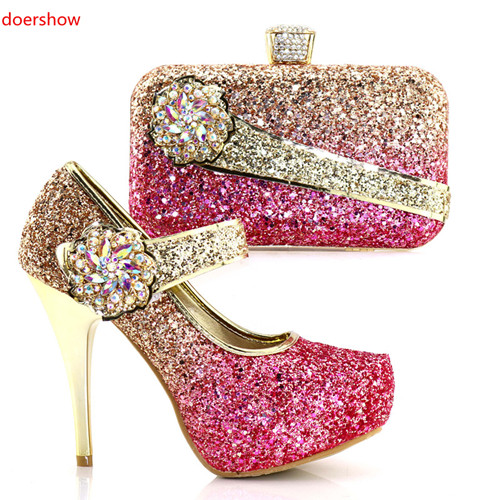 doershow Italian Shoes and Bags To Match Shoes with Bag Set Ladies Italian Shoes and Bag Set Decorated with Rhinestone SAB1-11