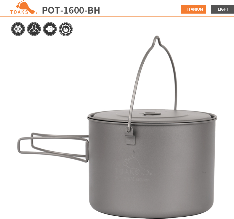 TOAKS 1.6L Ultraleve Titanium Pot Camping Panelas