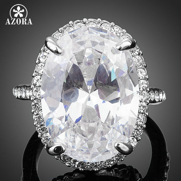 AZORA New Fashion Design With Big Clear Cubic Zirconia Egg Shaped Engagement Ring TR0130 массажер для лица gezatone m1605