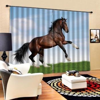 horse curtains 3D Curtain Luxury Blackout Window Curtain Living Room stereoscopic curtains