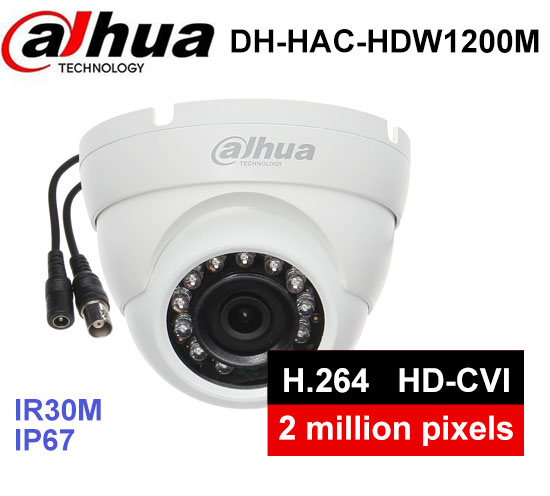Dahua DH-HAC-HDW1200M HDCVI camera metal shell Eyeball Cam 2MP Smart IR 30M IP67 Security CCTV Camera dahua hdcvi 1080p bullet camera 1 2 72megapixel cmos 1080p ir 80m ip67 hac hfw1200d security camera dh hac hfw1200d camera
