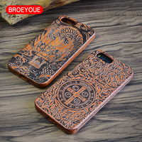 BROEYOUE Case For Xiaomi Mi5 Mi5S Mi6 Wood Case For Xiaomi MIX Natural Real Bamboo Carving