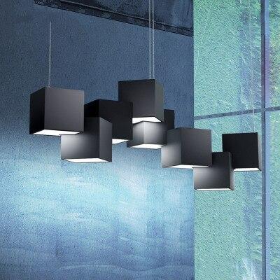 Postmodern Designer Magic Cube Led Pendant Light Creative Art Gallery Dinner Living Room Led Lighting Fixtures Free Shipping