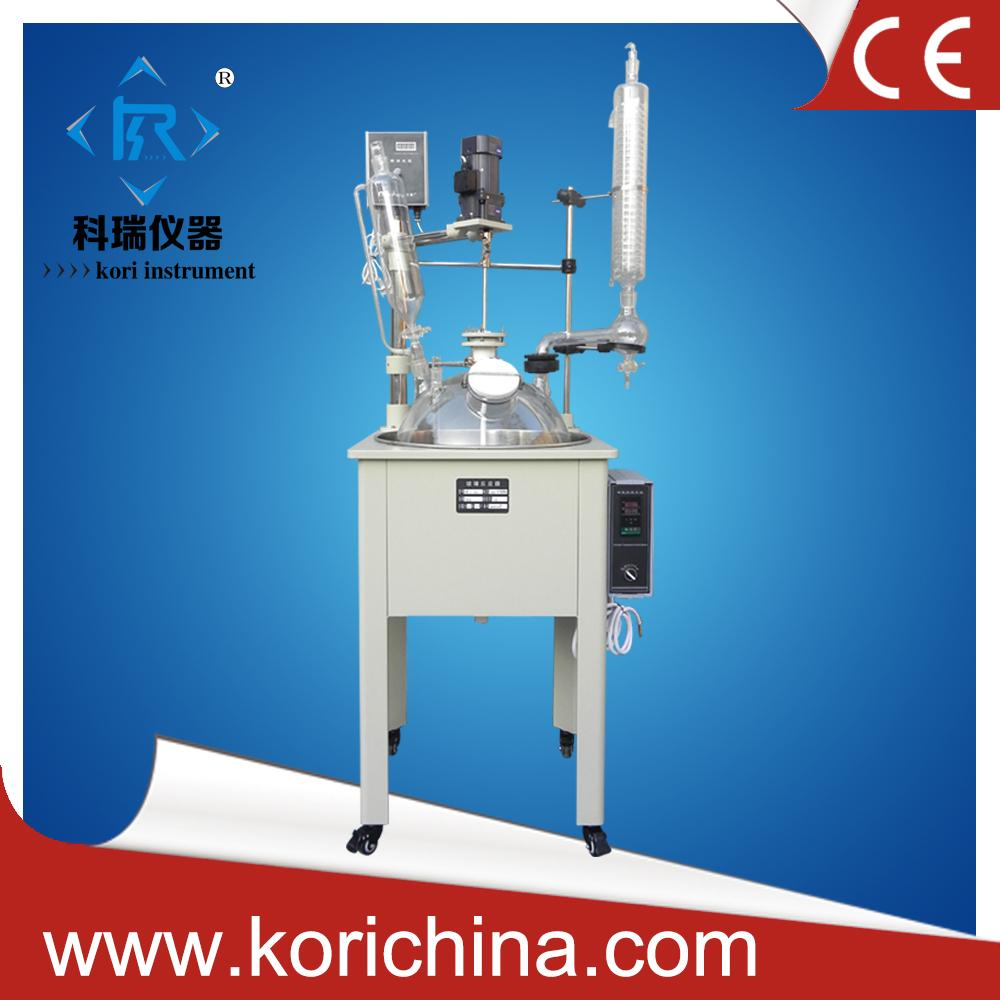 Mini-pilot plant glass reactor with high borosilicate GG3.3 with PTFE agitator /10L single lined jacketed glass reactor 10l laboratory double walled glass lined reactor agitator for chemical