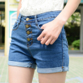 Free Shipping High Quality Summer Hot Sale Cool High Waist Button Decorated Jean Shorts Blue