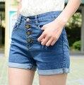 O Envio gratuito de Alta Qualidade Venda Quente de Verão Fresco Botão De Cintura Alta Shorts Jeans Decorados Azul