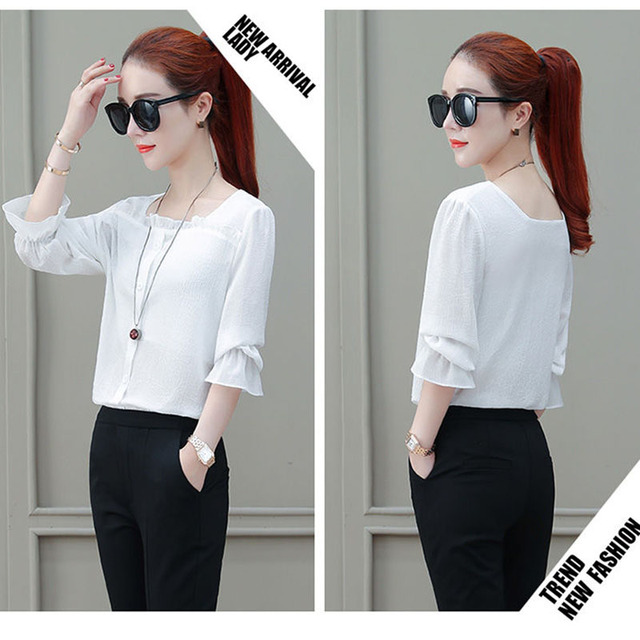 Women Spring Summer Style Chiffon Blouses Shirts Lady Casual Half Sleeve Solid Color Square Collar Blusas Tops DF2303 3