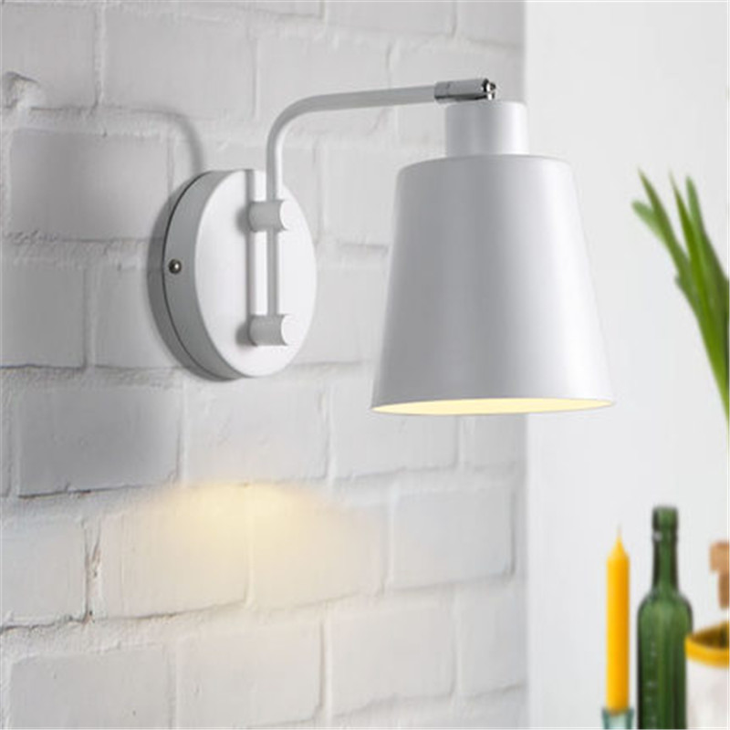 Simple Loft Style Iron Wall Sconce Rotating Bedside Wall Lamp Modern LED Wall Light Fixtures Indoor Lighting Lampara Pared simple adjust wall sconce fabric shade modern led wall lamp with switch bedside wall light fixtures lighting lampara pared