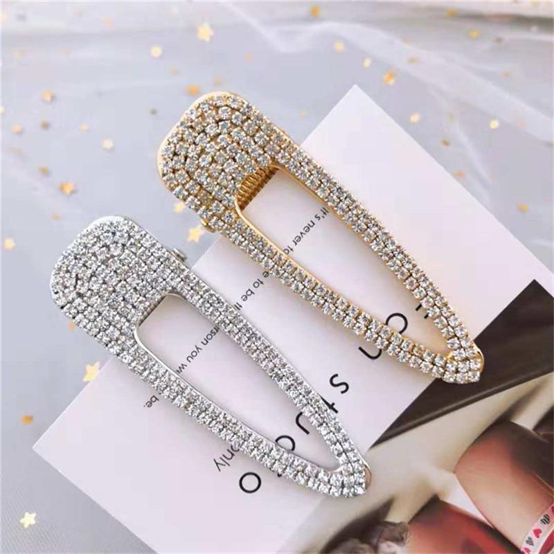 Korean rhinestone Geometric Metal Hairpins Alloy Hair Clip Pin Barrettes Elegant Women Girls Hairgrips Hair Accessories   headwear