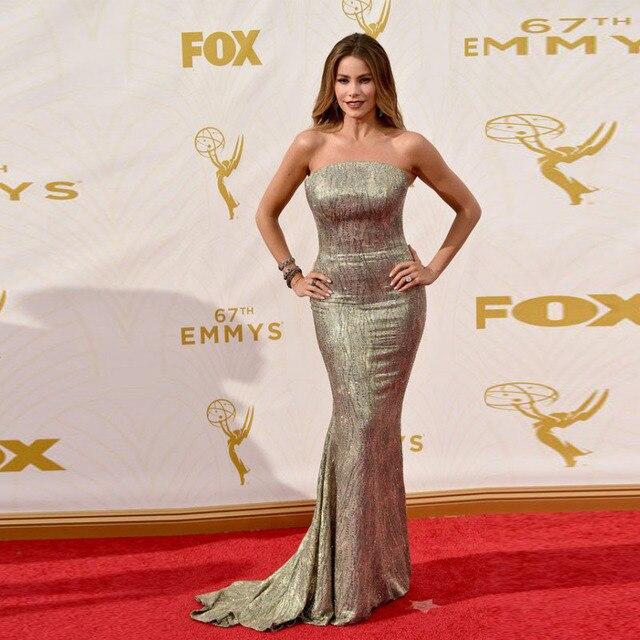 Gorgeous Granos Cristalinos de La Sirena Vestido de La Celebridad Oscars 2017 Red Carpet Inspirado Vestidos de Premios Luxus Vestido de festa