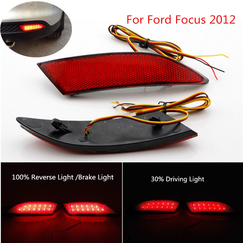 Newest! Car Accessories LED Red Rear Bumper Reflectors Light For 2012 Ford Focus Brake Parking Warning Night Running Tail Lights 2pcs red rear bumper reflectors light brake parking warning night runing tail lamps led for honda odyssey 2007