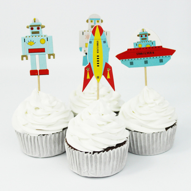 48pcslot Aviation Robot Cake Topper Party Decoration For Kids