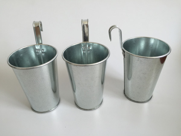 10Pcs/Lot D8*H11CM wall hanging Galvanized bucket Silvery Metal Plant Flower Pots Hanging Wedding Tub vertical balcony pot